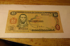 1960 BANK OF JAMAICA $2.00 DOLLAR NOTE