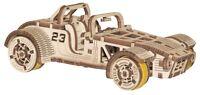 WOODEN CITY® Roadster, 3D Holzpuzzle Holzmodellbau Modellbausatz Gummimotor!