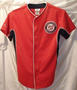 Washington Nationals Red Button Front Majestic Baseball Jersey Youth Kids Sz M