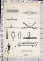 1886 Stampa Naturale Filosofia Magnetismo Vari Diagrammi Esperimenti
