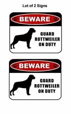 "2 count ""Beware Guard Rottweiler (silhouette) on Duty"" Laminated Dog Sign"