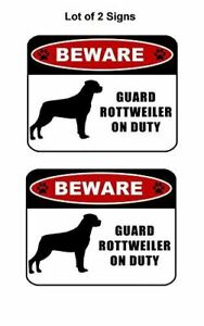 """2 count """"Beware Guard Rottweiler (silhouette) on Duty"""" Laminated Dog Sign"""