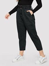 New Shein Plus Paperbag Waist Cropped Jeans Black Size 1XL, 14
