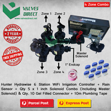 "Hunter Hydrawise 6 Station WiFi Irrigation Combo-Qty 5 x 1""Solenoids&Rain Sensor"