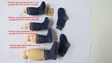 """Chaussettes Bleu   Taille  0    Ref  """" 0BU """"  pour  poupées de  24 à 45 cm"""