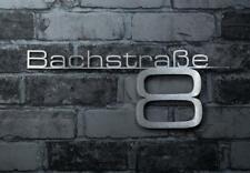 Design Schriftzug Hausnummer & Straßenname V2A Edelstahl inkl. Montage-Material