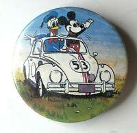 Vintage Walt Disney Mickey & Donald In Herbie Tin Badge 36 mm made in England