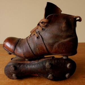 1940 Timpson's Knockout Football Boots. Antique Vintage Leather Soccer Shoes