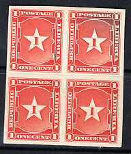 Liberia # 33 MNH 1892 IMPERF Block of Four Waterlow