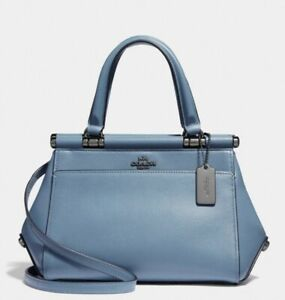 NWT COACH Chambray Blue Refined Calf Leather Grace Satchel Bag Purse 31918
