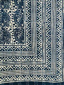 Indian Handmade Indigo Kantha Quilt, Blue Queen Size reversible Multipurpose