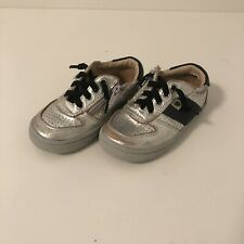Toddler Boys Old soles Sz 7 Sz 23 Silver Black Runner Sneaker Tennis Shoe EUC
