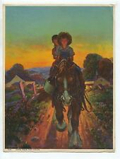 Vintage 1940's-50's Print Farm Boy & Girl Ride Work Horse Home From The Fields