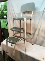 Vtg rustic Steel  Cosco 3  Step Stool Kitchen Grey  White  Country Cottage