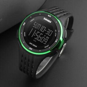 SKMEI Mens Black Large Display Digital Wrist Watch Resin Strap Stopwatch Alarm