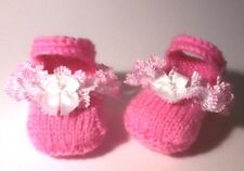 BABY LACY PARTY MARY JANE SHOES/BOOTEES, KNIT IN LACE KNITTING PATTERN, 3 SIZES