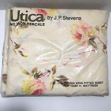 Utica J.P. Stevens Vintage NIP Roses Most Precious California King Fitted Sheet