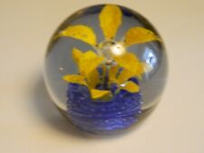 "Vintage Bill Heinle Paperweight Blue Yellow Flower 4"" diameter Controlled Bubble"