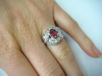 14K WHITE GOLD GENUINE RED SPINEL AND DIAMONDS HIGH END LADIES RING, SIZE 5.5