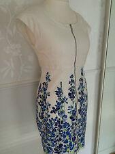 Karen Millen White Blue Butterfly Zip Dress UK 12