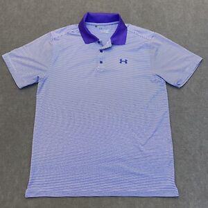 Under Armour HeatGear Men's Golf Polo Shirt Size Large Purple Striped Loose Fit