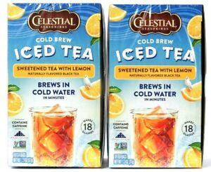 2 Boxes Celestial Seasonings Cold Brew Sweet Iced Black Tea With Lemon 18 Bags