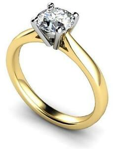 1 Carat Diamond Unique Gold 9ct Solitaire Engagement Ring 4 Claw UK Hallmarked