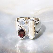 Biwa Perle Ring, 925er Silber, Edelsteinring (21556), mit Granat, mit Mondstein