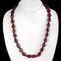 BUYERS MOST DEMANDED 338.00 CTS NATURAL PEAR SHAPED RED RUBY BEADS NECKLACE