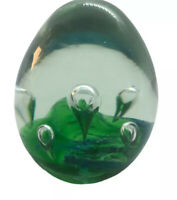 Egg Shaped Paperweight Green & Clear Art Glass Captured Bubbles And Swirled