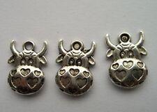 20 pcs Tibetan silver cow charm pendant 12x16mm