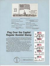 22 cent FLAG BOOKLET PANE OF 5 1985 SOUVENIR PAGE SCOTT # 2116a SP672 Flags