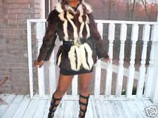 Excellent Unique Designer brown & white skunk Fur Coat Jacket stroller S-M 2-6