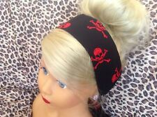BLACK RED SKULL PRINT. COTTON FABRIC HEAD SCARF HAIR BAND SELF TIE BOW PIRATE