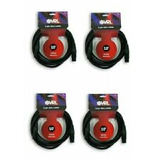 (4 pk) VRL 3 Pin 10' ft DMX Pro Lighting Cables - Stage DJ Data Cable 22 Gauge