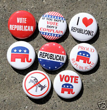 8 REPUBLICAN Pinbacks Buttons Badges 1 inch Campaign Political Election