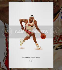 Lebron James Cleveland Cavaliers Basketball Illustrated Print Poster Art Cavs