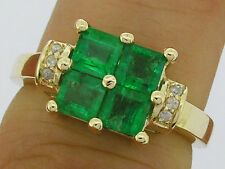 R091 Genuine 9K Gold Natural Emerald & Diamond Square Cluster Ring in your size