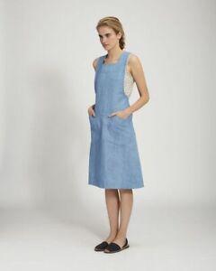 TOAST Emmet Pinafore Dress Size 10 Light Denim Blue