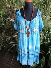 Stunning Bright Blue Tie Dye Open Cold Shoulder  KAFTAN Tunic Resort Beach Dress