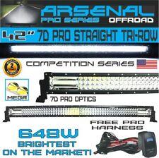 "42"" Tri-Row Pro Straight Led Light Bar 648w 64,800LM 7D Spot Flood Combo Beam"