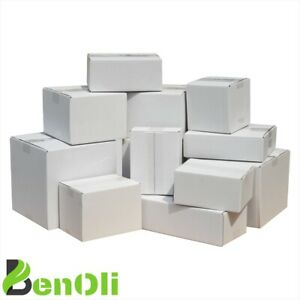 20 Faltkartons 200x200x100 mm Einwellig Versandkartons Karton B-Welle [ weiß ]