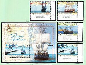 PITCAIRN ISLANDS - Scott 618-621a - FVF MNH set & S/S - HMS Bounty Ship - 2005