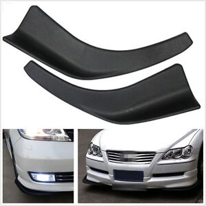 2 Pcs Black Polyurethane Car Body Splitter Diffuser Bumper Canard Lip Fin Chin