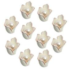 10pcs Pearl White Enamel Lily Flower Buttons Flatback DIY Hair Jewelry Craft
