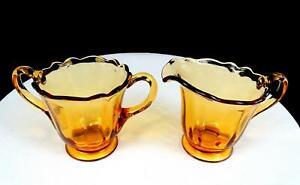 "NEW MARTINSVILLE DEPRESSION GLASS PANEL OPTIC 3 5/8"" CREAMER & SUGAR BOWL 1930's"