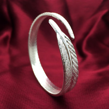 Lovely 925 Silver Plated Fashion Wedding Women Feather Cuff Open Bracelet Bangle