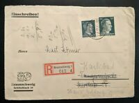1942 Braunschweig to Karlsbad Germany Registered Mail Cover