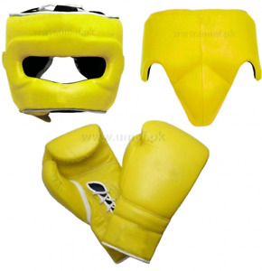 New Custom Made WINN1NG, Yellow, Boxing Gloves, Head Gear, Groin Guard,