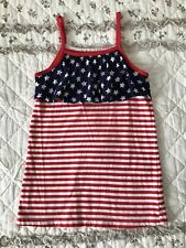 JUMPING BEAN GIRLS AMERICANA STAR STRIPE RUFFLE TANK TOP RED WHITE BLUE USA JULY